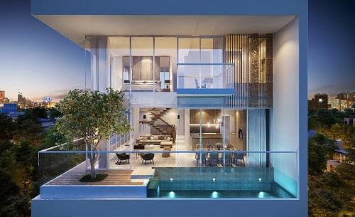 Hồ bơi và sân vườn riêng được đưa lên ban công, Juliet balcony ngay phòng ngủ chính.