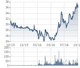 Biến động giá cổ phiếu VNS 1 năm qua