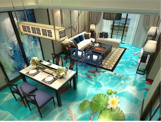 Cả căn nhà mướt mát với ao cá trên mặt sàn.