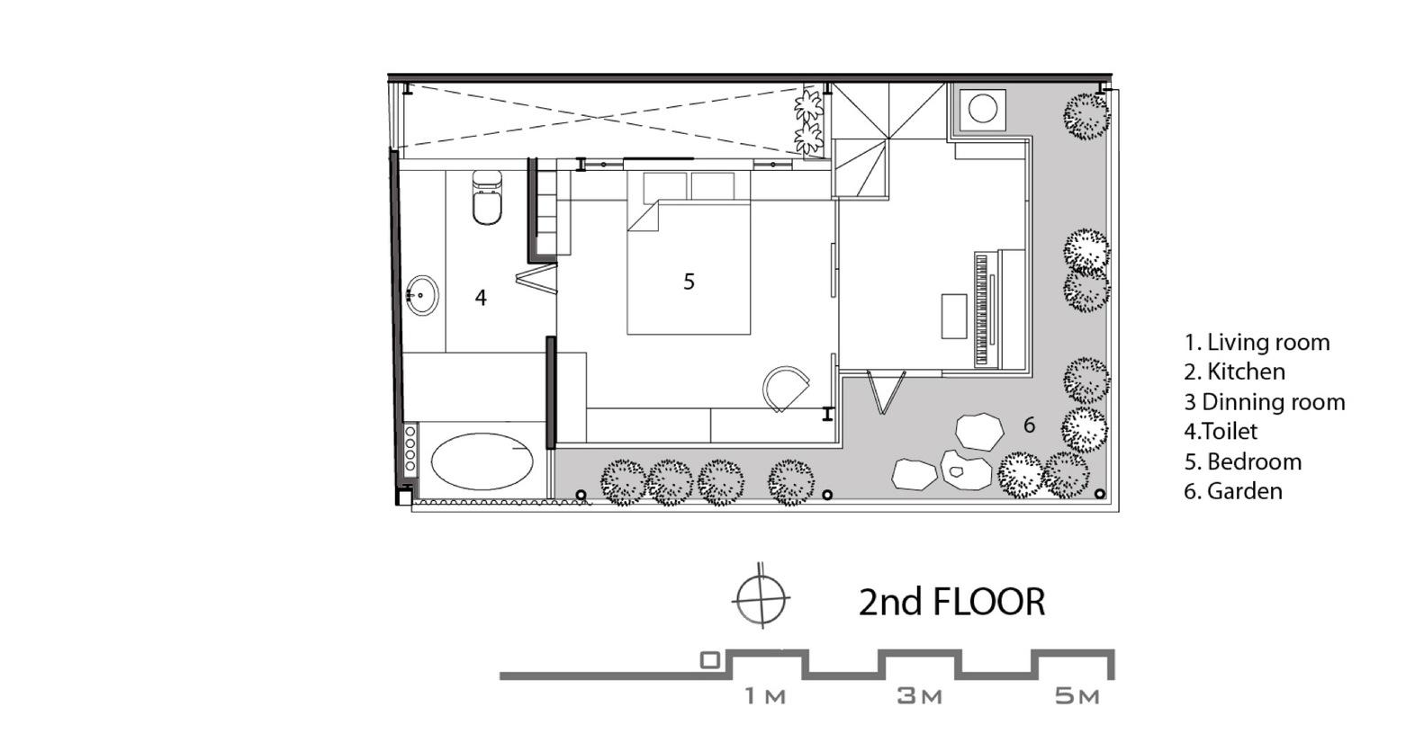 Sơ đồ bố trí các tầng của ngôi nhà.