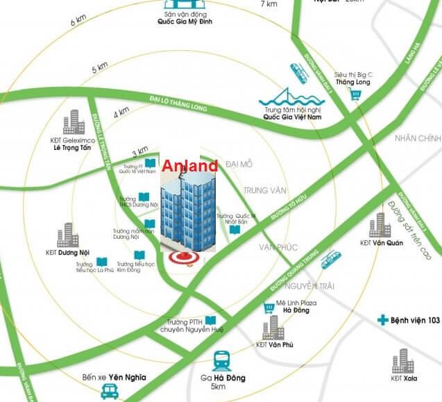 Anland Complex khá gần với các các bệnh viện lớn tại Thủ đô, các trường học và bến xe khách.