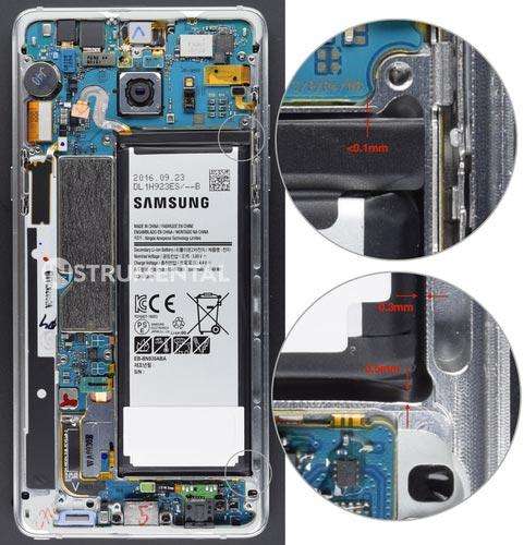 Pin cho Galaxy Note 7 có khoảng trống di động quá nhỏ, dễ gây vấn đề về an toàn. Ảnh: Instrumental