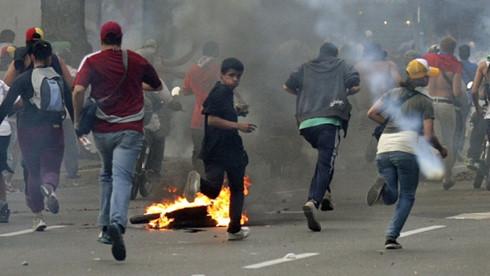 Một vụ biểu tình ở thủ đô Caracas của Venezuela. Ảnh: CBC