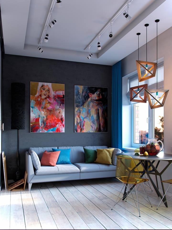 Căn hộ nhỏ hớp hồn người xem bởi cách bố trí nội thất vô cùng tinh tế của chủ nhà. Việc sử dụng màu sắc tương phản nơi phòng khách cùng những món đồ nội thất trang trí lạ mắt khiến không gian nơi đây trở nên vô cùng độc đáo.