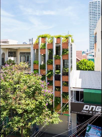 Ngôi nhà mang tên Resort in House nổi bật giữa khu phố Đặng Thai Mai với màu xanh mướt mát của cỏ cây, hoa lá.