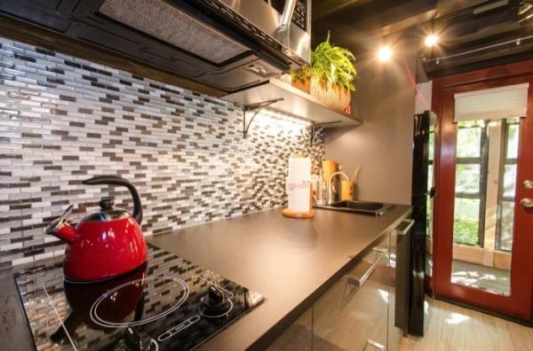 Góc bếp nhỏ còn được chủ nhà nhấn nhá với chậu cây cảnh đẹp mắt.