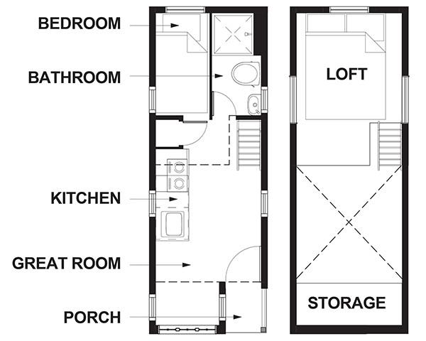 Sơ đồ bố trí căn nhà 15,7m2.
