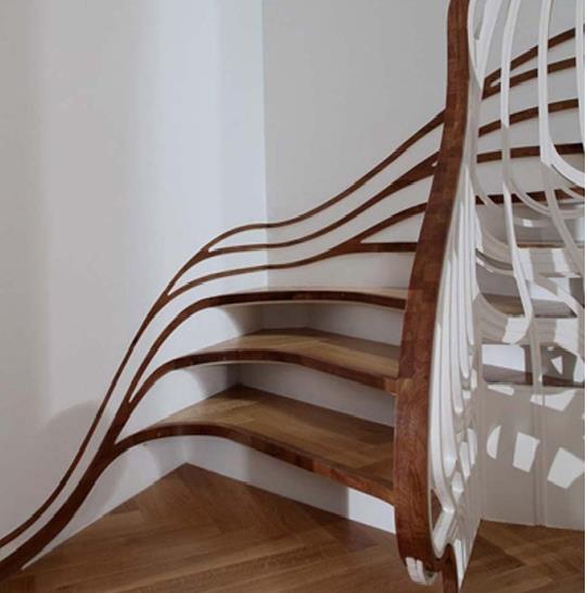 Sử dụng cầu thang gỗ vừa đảm bảo được độ bền, vừa có màu sắc đẹp và hướng con người tới gần tự nhiên.