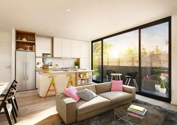 Bếp, phòng khách, phòng ăn được thiết kế mở trong cùng một không gian khiến căn nhà phòng trở nên thông thoáng và tràn ngập ánh sáng tự nhiên.