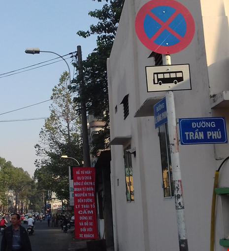 Đường Lê Hồng Phong cấm xe khách trên 16 chỗ dừng, đậu từ ngày 1-3-2016.
