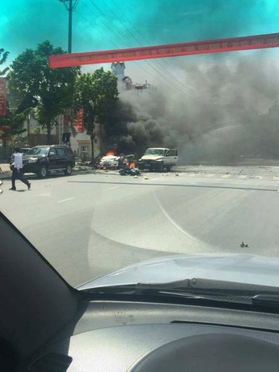 Vụ nổ xảy ra ở đường Trần Phú, Cẩm Thủy (Tp Cẩm Phả, tỉnh Quảng Ninh) Ảnh: beat
