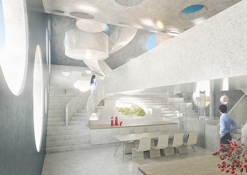 Khu vực bếp và phòng ăn sang trọng được bố trí bên trong.