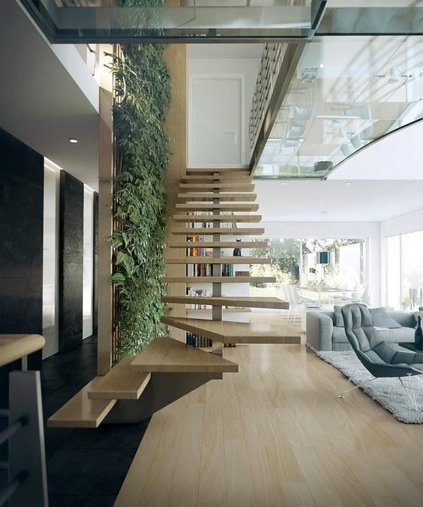 Kiểu cầu thang từng bậc riêng lẻ có màu sắc cùng với màu của sàn nhà tạo không gian thoáng rộng và vô cùng bắt mắt.