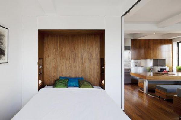 Không gian nghỉ ngơi riêng tư lý tưởng cho chủ nhà. Bức tường trượt có thể dễ dàng kéo đi kéo lại khi cần thiết.