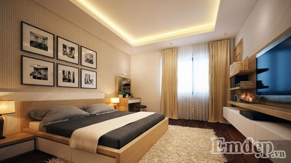 Phòng ngủ dành cho vợ chồng gia chủ lung linh với đầy đủ góc làm việc, thư giãn.