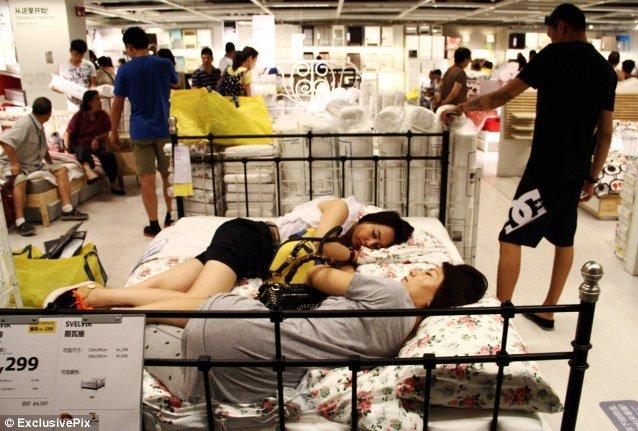 Bất kể khách hàng xung quanh, ngủ một giấc đã. Ảnh: Daily Mail