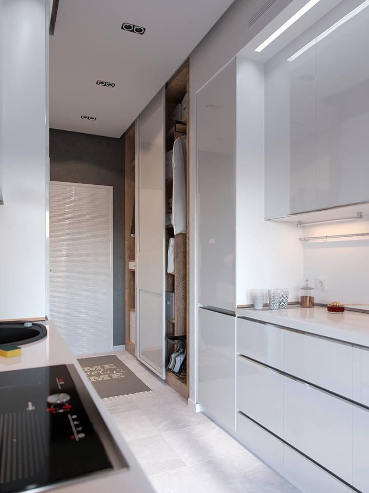 Phía đối diện là tủ đựng quần áo và đồ dùng cá nhân với cửa trượt giúp tiết kiệp diện tích và thuận tiện cho người sử dụng.