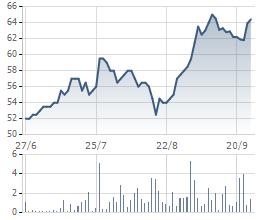 Biến động giá cổ phiếu THG trong 6 tháng gần đây.