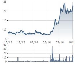 Diễn biến giá cổ phiếu STG trong 1 năm gần đây.