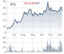Diễn biến giá cổ phiếu STG trong 6 tháng gần đây.