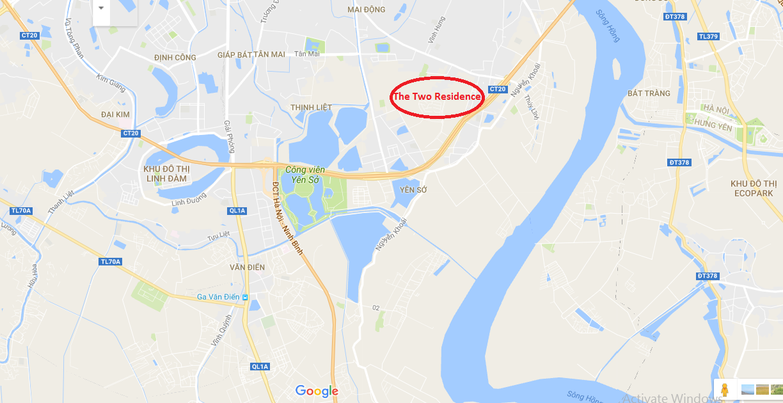 Vị trí dự án ngay gần công viên Yên Sở.