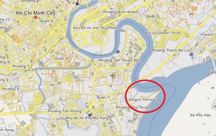 Vị trí dự án nằm ở khu Mũi Đèn Đỏ (nhìn ra ngã 3 sông Sài Gòn và sông Đồng Nai)