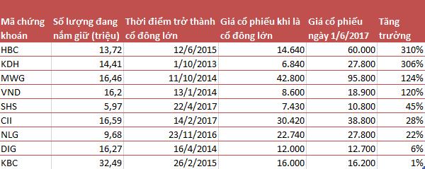 Danh mục những khoản đầu tư thành công nhất mà Pyn Elite Fund vẫn đang nắm giữ (tính theo giá điều chỉnh)