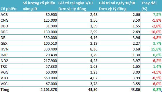 Danh mục đầu tư của BVPF