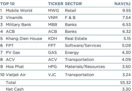 Những khoản đầu tư lớn nhất của VEIL