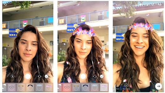 Instagram đã sao chép công cụ chỉnh ảnh trang điểm cho khuôn mặt của Snapchat.