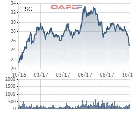 Cổ phiếu HSG trong vòng 1 năm