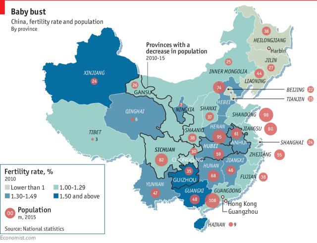 Tỷ lệ sinh (%) tại Trung Quốc năm 2010