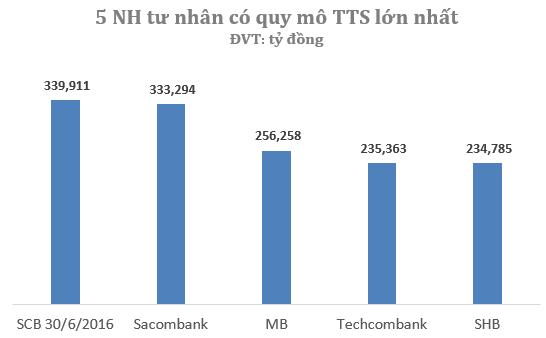 Sau khi hợp nhất 3 NH SCB, Ficombank và Tinnghiabank, ngân hàng hợp nhất SCB đã nằm trong nhóm 5 ngân hàng cổ phần có quy mô tổng tài sản lớn nhất tại Việt Nam.