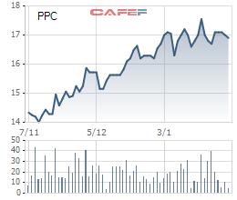 Diễn biến giá cổ phiếu PPC trong vòng 3 tháng qua