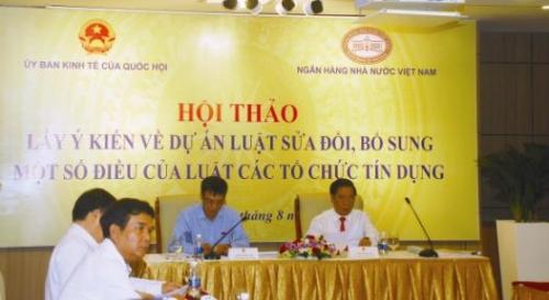 Ông Dương Quốc Anh, Phó chủ nhiệm Ủy ban Kinh tế Quốc hội và Phó thống đốc NHNN Việt Nam Nguyễn Kim Anh đồng chủ trì hội thảo