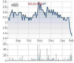 Diễn biến giá cổ phiếu HDO trong 6 tháng qua