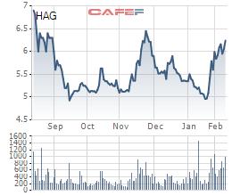 Cổ phiếu HAG đã tăng 26% so với cách đây 1 tháng