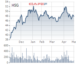 Biến động giá cổ phiếu HSG trong 6 tháng