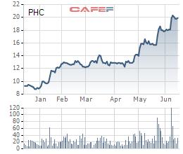 Từ đầu năm đến nay giá cổ phiếu PHC tăng gấp đôi từ mức giá gần 10.000 đồng/cp lên gần 20.000 đồng/cp.