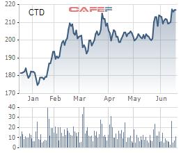 Biến động giá cổ phiếu CTD trong 6 tháng qua
