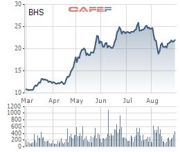 Biến động giá cổ phiếu BHS trong 6 tháng trước khi hủy niêm yết