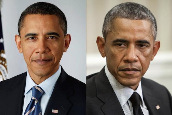 Hình ảnh ông Obama khi mới nhậm chức năm 2009 (ảnh trái) và năm 2017.