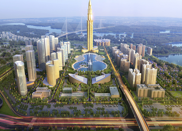 Nổi bật của siêu dự án 4 tỷ USD này đó là tháp tài chính 108 tầng, cao nhất Thủ đô nằm trong trung tâm của khu đô thị nhìn về phía cầu Nhật Tân và sông Hồng (thuộc địa phận xã Phương Trạch, Đông Anh).