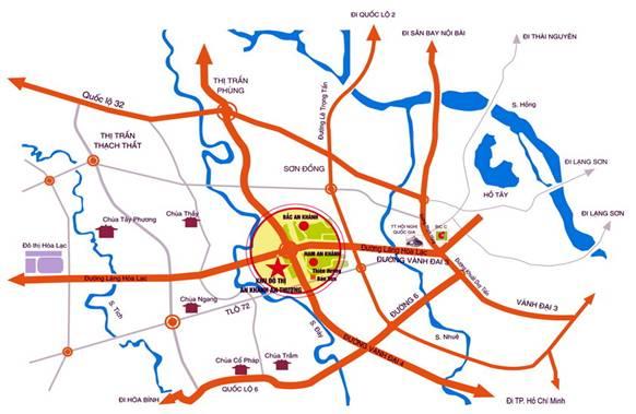 Dự án toạc lạc ngay trên trục Đại Lộ Thăng Long, bên cạnh là các khu đô thị Nam An Khánh, Bắc An Khánh...