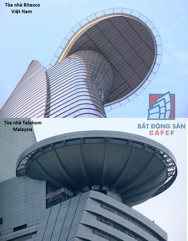 Cùng lơ lửng giữa lưng chừng trời nhưng hai hai khối kiến trúc có cấu trúc hoàn toàn khác nhau.
