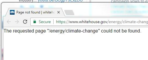 không thể tìm kiếm cụm biến đổi khí hậu trên trang web WhiteHouse.gov