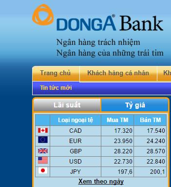 Bảng giá niêm yết ngoại tệ vào đầu giờ chiều ngày 15/2 tại DongABank.