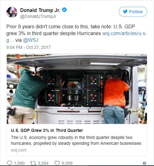Bài viết của Tổng thống Trump trên Twitter sau khi báo cáo GDP được công bố.