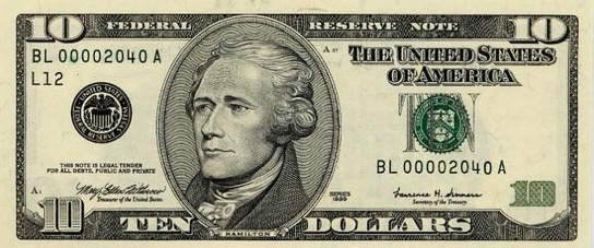 Hamilton là một trong hai người không phải là tổng thống nhưng được in hình lên tờ tiền giấy USD (nguồn ảnh: Internet).