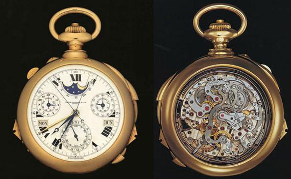 Patek Philippe, Henry Graves Jr Supercomplication Pocket Watch giá 11 triệu USD. Đây là chiếc đồng hồ làm bằng tay phức tạp nhất tính từ trước đến nay. Chiếc đồng hồ có tới 24 chức năng, bao gồm cả lịch vạn niên, bầu trời đêm củathành phố New York, chu kì mặt trăng, dự trữ năng lượng, chỉ báo hướngmặt trời mọc và mặt trời lặn... Tháng 11 tới đây, chiếc đồng hồ này sẽđược đem ra đấu giá. Các chuyên gia cho rằng giá trị của nó chắc chắn sẽ không dưới 15 triệu USD.